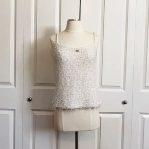 Chanel Tweed Cropped Fuzzy Sleeveless Tank Top